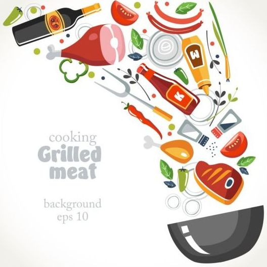 Grilled meat background vector material - Vector ...