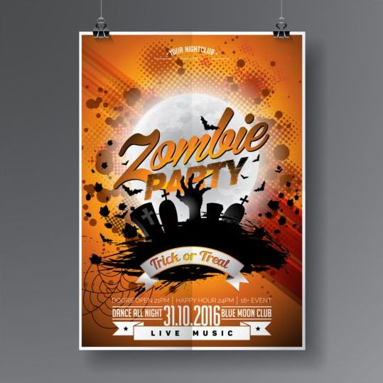 Halloween music party flyer design vectors 01 - Vector Cover ...