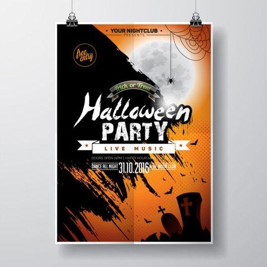 Halloween music party flyer design vectors 04 - Vector Cover ...