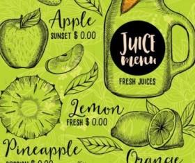 Hand drawn juice drink menu vector 01