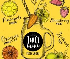 Hand drawn juice drink menu vector 02