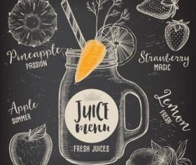 Hand drawn juice drink menu vector 03