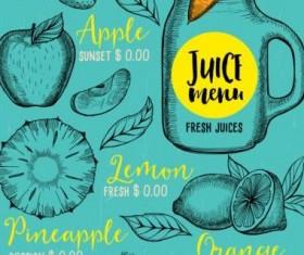 Hand drawn juice drink menu vector 04