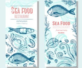 Hand drawn sea food banners vector 03