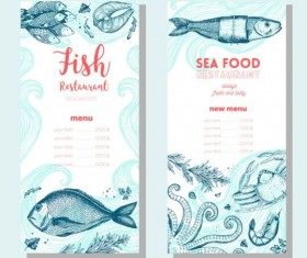 Hand drawn sea food banners vector 04