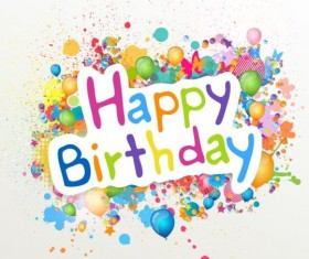 Happy birthday label with colored grunge vector