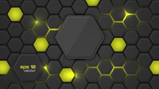 hexagon shape background light vector free download