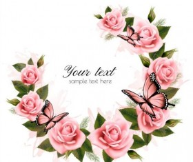 Holiday background with beautiful pink flowers and buds vector