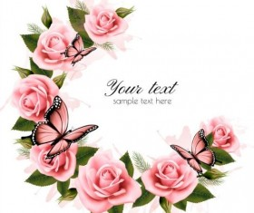 Holiday background with pink beautiful flowers and butterflies vector 02