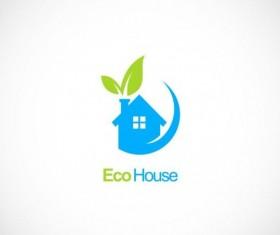 House ecology green leaf logo vector