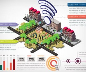 Isometric 3d community communication infographics vector 01