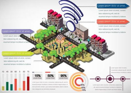Isometric 3d community communication infographics vector 01