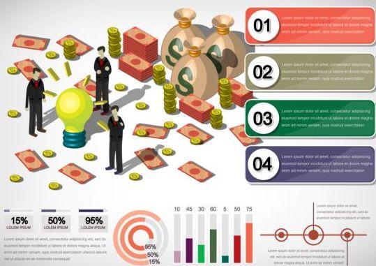 Isometric 3d financial infographics vector 02