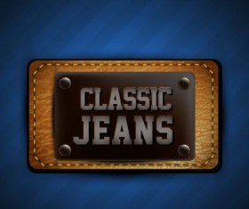 Jeans and leather badges label vector 07