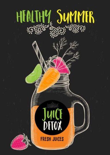 juice detox hand drawn vector material 20 free download