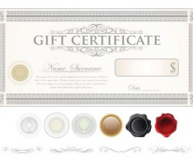 Light colored gift certificate template vector 05