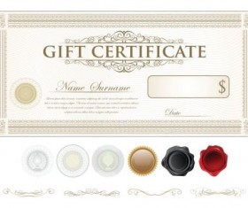 Light colored gift certificate template vector 06