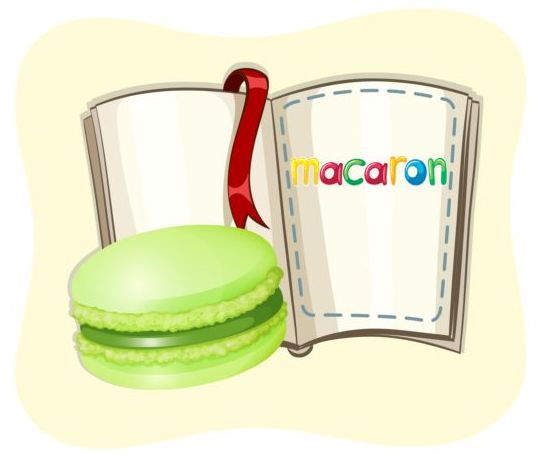 Macaron with book vector