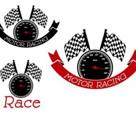 Mocor racing labels withstep speed meter vector