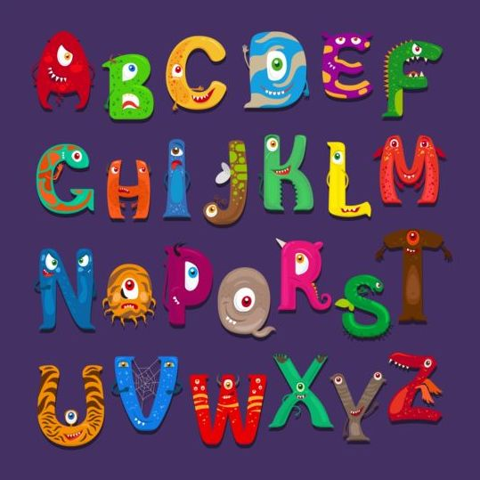 monster alphabet vector material 01 free download