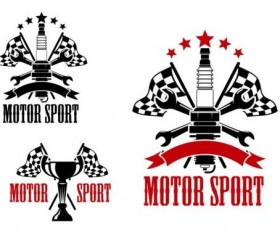Motor sport labels vector