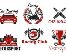 Motorsport with racing club labels vector