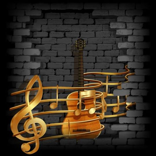 music background with vintage brick wall vectors 07
