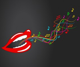 Music note with red lips vector