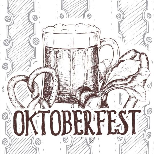 Oktoberfest beer retro poster vector design 04