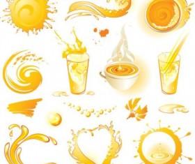 Orange juice elements vector illustration 02