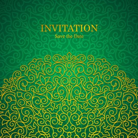 Orante Green Wedding Invitation Cards Design Vector 01