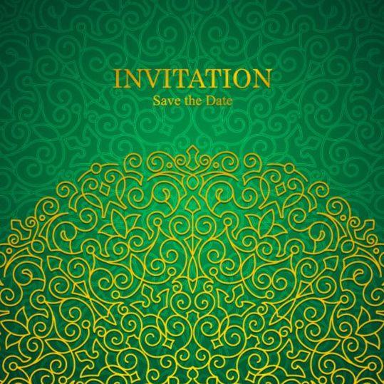 Orante Green Wedding Invitation Cards Design Vector 01 Free