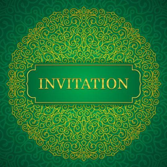 orante green wedding invitation cards design vector 03