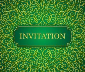 Orante green wedding invitation cards design vector 04