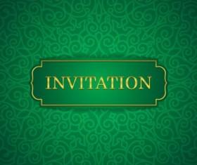 Orante green wedding invitation cards design vector 07