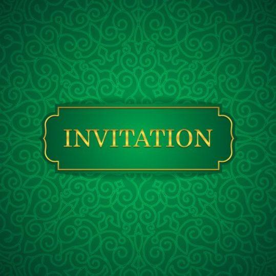 Orante Green Wedding Invitation Cards Design Vector 07 Free