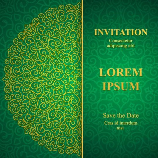 Orante Green Wedding Invitation Cards Design Vector 08