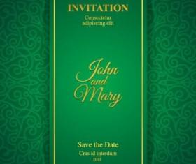 Orante green wedding invitation cards design vector 09