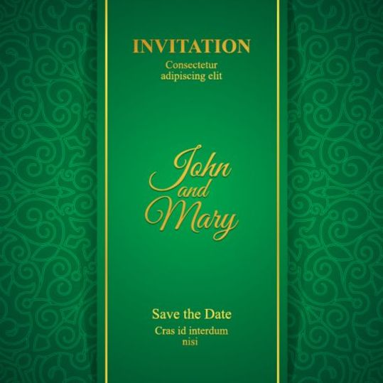 Orante Green Wedding Invitation Cards Design Vector 09 Free