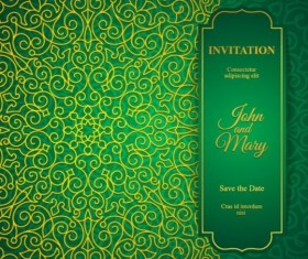 Orante green wedding invitation cards design vector 12