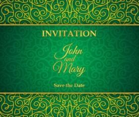 Orante green wedding invitation cards design vector 13