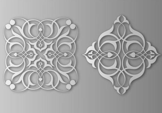 Paper cut floral ornaments vector 02