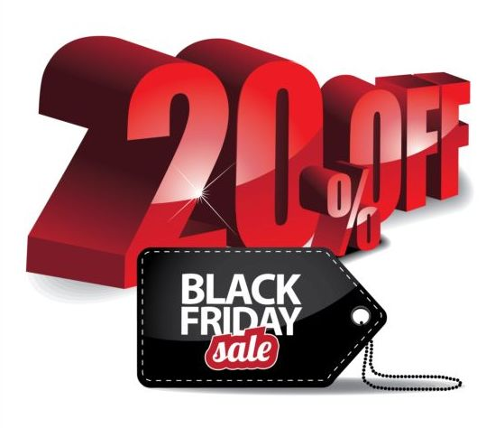 Percentage off with black friday sale tags vector 01