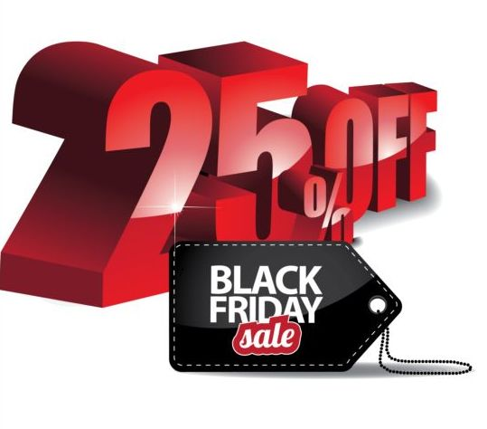 Percentage off with black friday sale tags vector 02