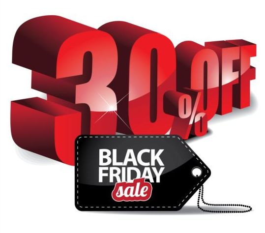Percentage off with black friday sale tags vector 03