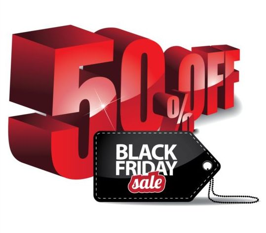 Percentage off with black friday sale tags vector 05