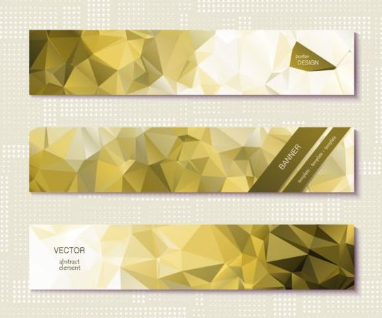 Polygonal with banners template vector 06