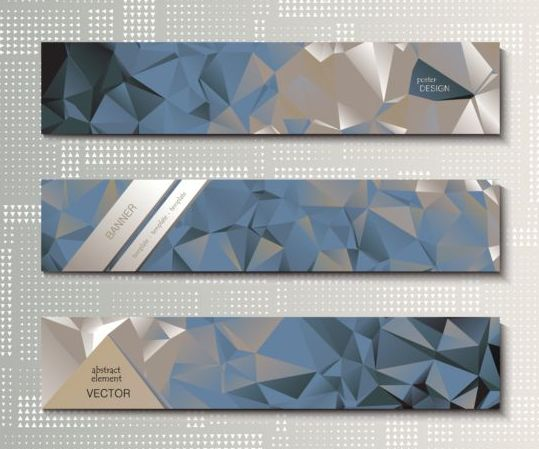 Polygonal with banners template vector 09