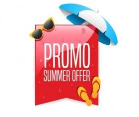 Promo summer offer labels vector design 01