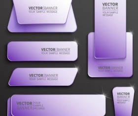 Purple web banner vector set 01